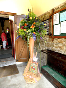 Flower arrangement in Church porch